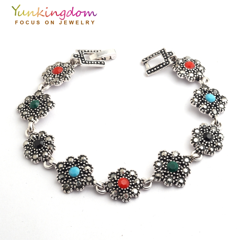 Yunkingdom Colorful Crystal Tibet Silver Flower Design Bracelets 2017 New Elegant Jewelry For Women Gift Fine Jewelry YUN0583