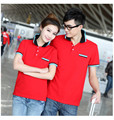 Couples clothing plus-size S-XXXL 2017 summer style new leisure  ladies and men cotton contrast color polo shirts AU0051
