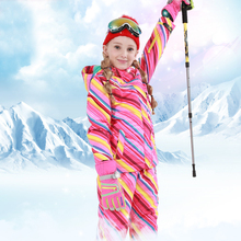 Winter Girl Ski Suit Children Set Thicken Hooded Outdoor Snowboard Jacket Windproof Terno Skiing Esqui Warm
