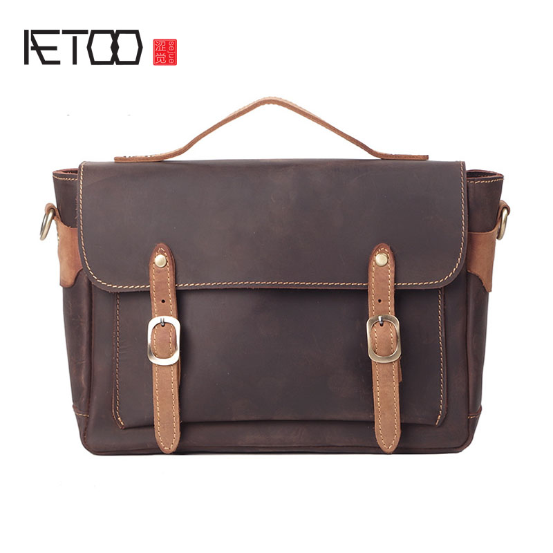 AETOO New Europe and the United States fashion men leather handbags ladies crazy horse shoulder Messenger bag europe and the united states classic sheepskin checkered chain tide package leather handbags fashion casual shoulder messenger b
