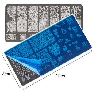 Image 2 - 1 conjunto prego placas de carimbo geometria laço flor sonho apanhador com jelly stamper scrapper esponja manicure imagem placa ferramenta ji804
