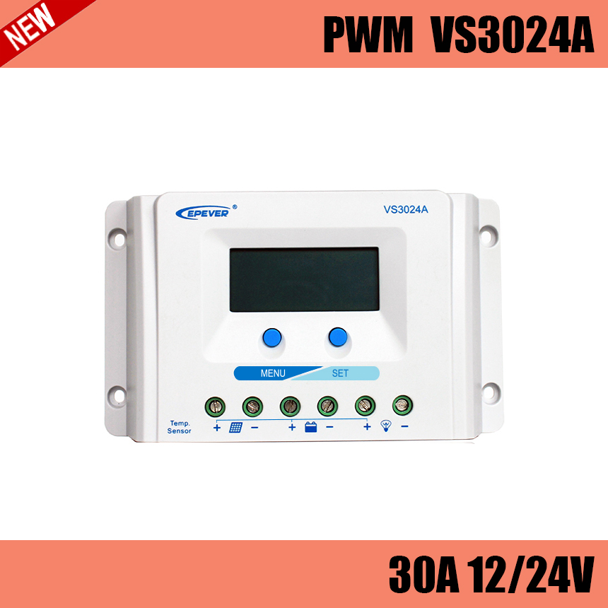 VS3024A PWM 30A solar charge controller LCD display for solar home system, traffic signal, solar street light, solar garden lamp