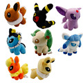 "5"" 13cm 8pcs/lot Q Style Anime  Eevee Plush Toys Lovely Stuffed Doll Toys For Children birthday gift"