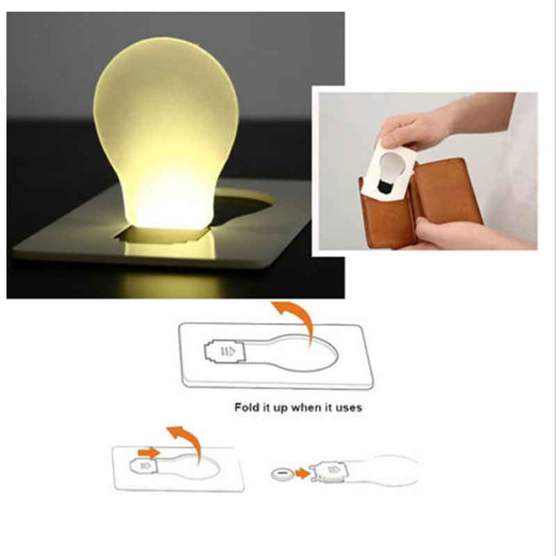 Creative Lighting Gadget Foldable Pocket Wallet Credit Card LED Night Lights Bulb Lamp