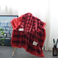 Wine Red Stripe Pattern 1Pcs Dreamcatcher Sherpa Throw Blanket Bohemian Mandala Sherpa Fleece Blanket On The Bed Sofa Colorful