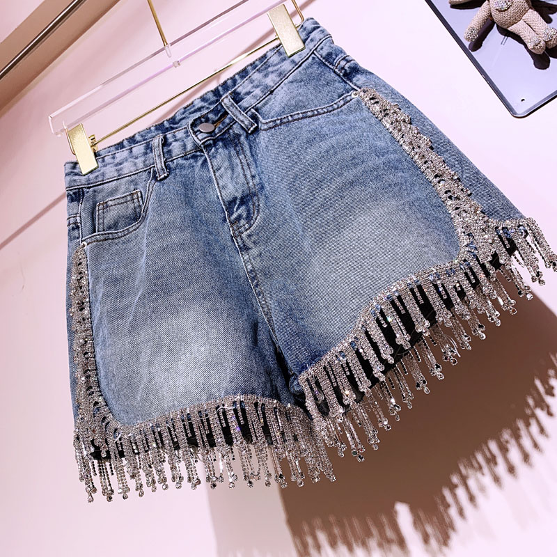 Rhinestone Tassel High Waist Denim Shorts Women Summer Fashion Diamonds Heavy Work Wide Leg Jeans Shorts