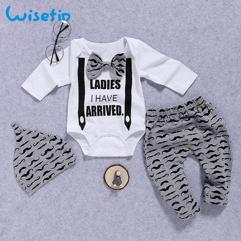 Wisefin יילוד בגדי סט תינוק בני סט 3 יחידות עניבת פרפר תינוק בגדי 0-18 חודשים שפם הדפסת חמוד ארוך שרוול תינוק סט