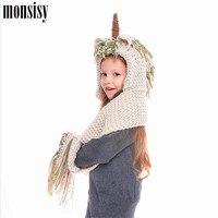Monsisy Winter Kid Hat Scarf Girl Boy Unicorn Warm Cap Scarf Set Children Wool Knitted Hat Scarves Baby Crochet Skullies Beanies