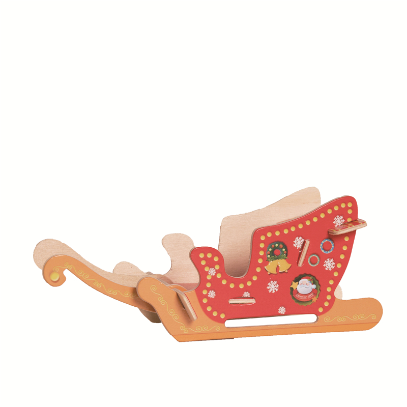 Robotime Home Decor Diy Wooden Santa Sleigh Miniature Christmas New Year Ornaments Decoration Xmas Gifts Family Children Ch105