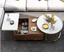 Nordic Marble Storage Tea Table Living Room Simple Modern Small Household High and Low Rise Round Table Multi-function Tea Table folding elevating table and table scale multi functional storage tea table with stools