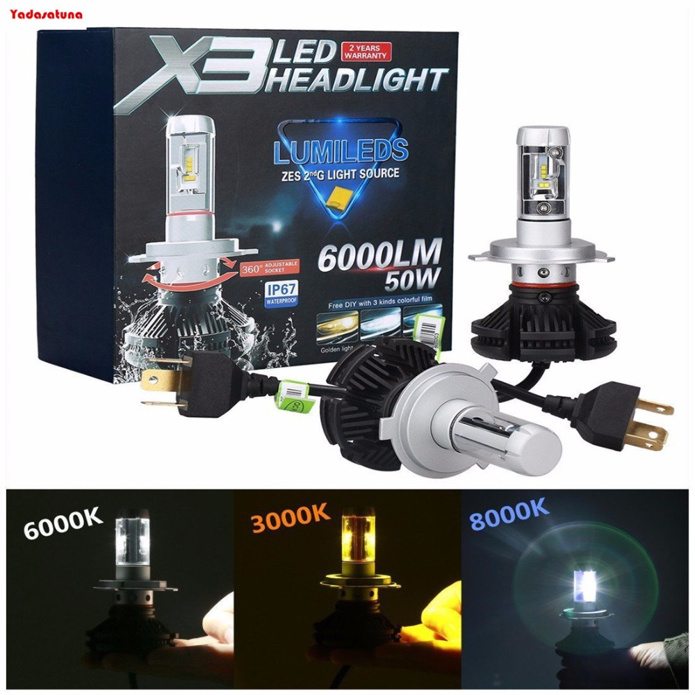LED Kit X3 50W 9003 HB2 H4 8000K Icy Blue Two Bulbs Headlight Replace Motorcycle