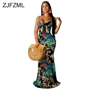 Spaghetti Strap Elegant Mermaid Long Dress Women Floral Print Open Back Bodycon Dress Summer Deep V Neck Sleeveless Beach Dress stylish scoop neck floral print chiffon women s sleeveless dress