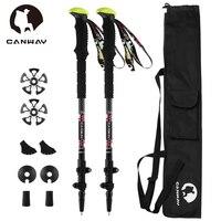 CANWAY 2Pcs Lot Carbon Nordic Walking Stick Telescopic Anti Shock Hiking Trekking Poles Walking Canes With