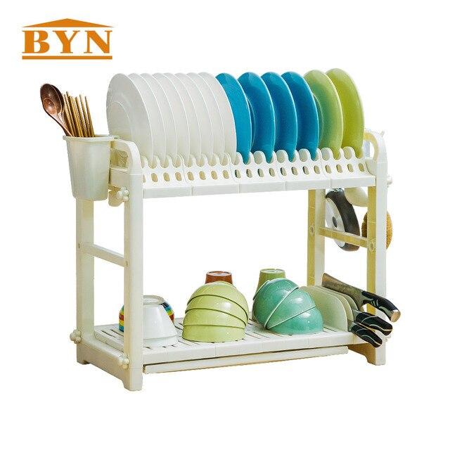 BYN Kitchen Accessories Utensils Holder Dish Rack Drainer White PP Kitchen  Drying Rack DQ1301 1