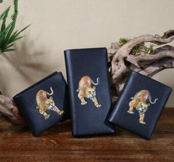 Stil Tiger Brieftasche 1 Handarbeit Der 3 Style style Chinesischen 100 Handgemalte 2 Echtem Marke Leathe Leder Männer style Original Totem Zw0qHPX
