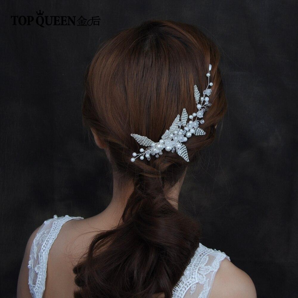 TOPQUEEN HP135 Hair Comb Wedding Bridal Hair Ornaments Crystal Leaf Pearl Beaded Female Hair Clip Pearl Hair Accessory