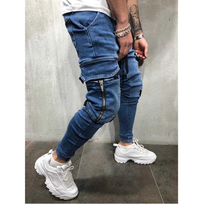 2019 Lado Listrado Kot Rasgado Moda Streetwear Mens Skinny Jeans Streç Calças Ince Rahat Denim Kot calças de ağız hombre
