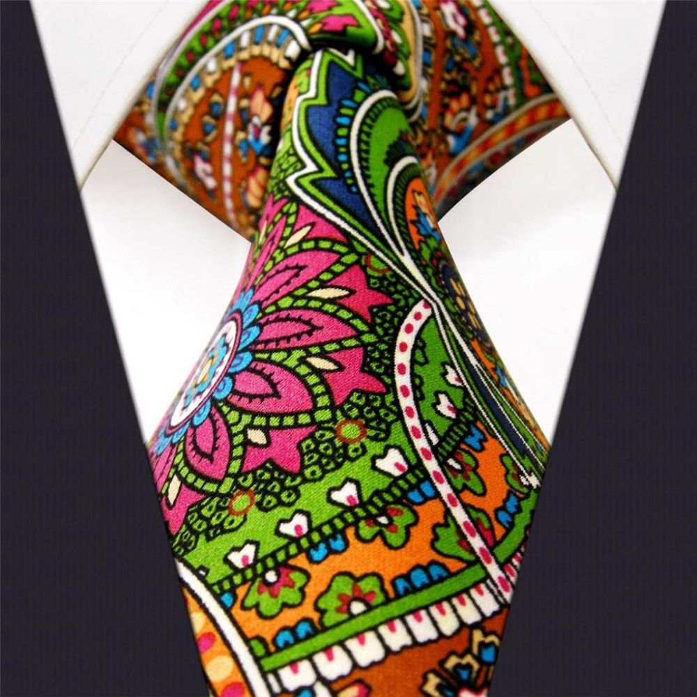 Paisley Multicolor Red Green Yellow Blue Mens Ties Necktie 100% Silk Printing Handmade  Brand New