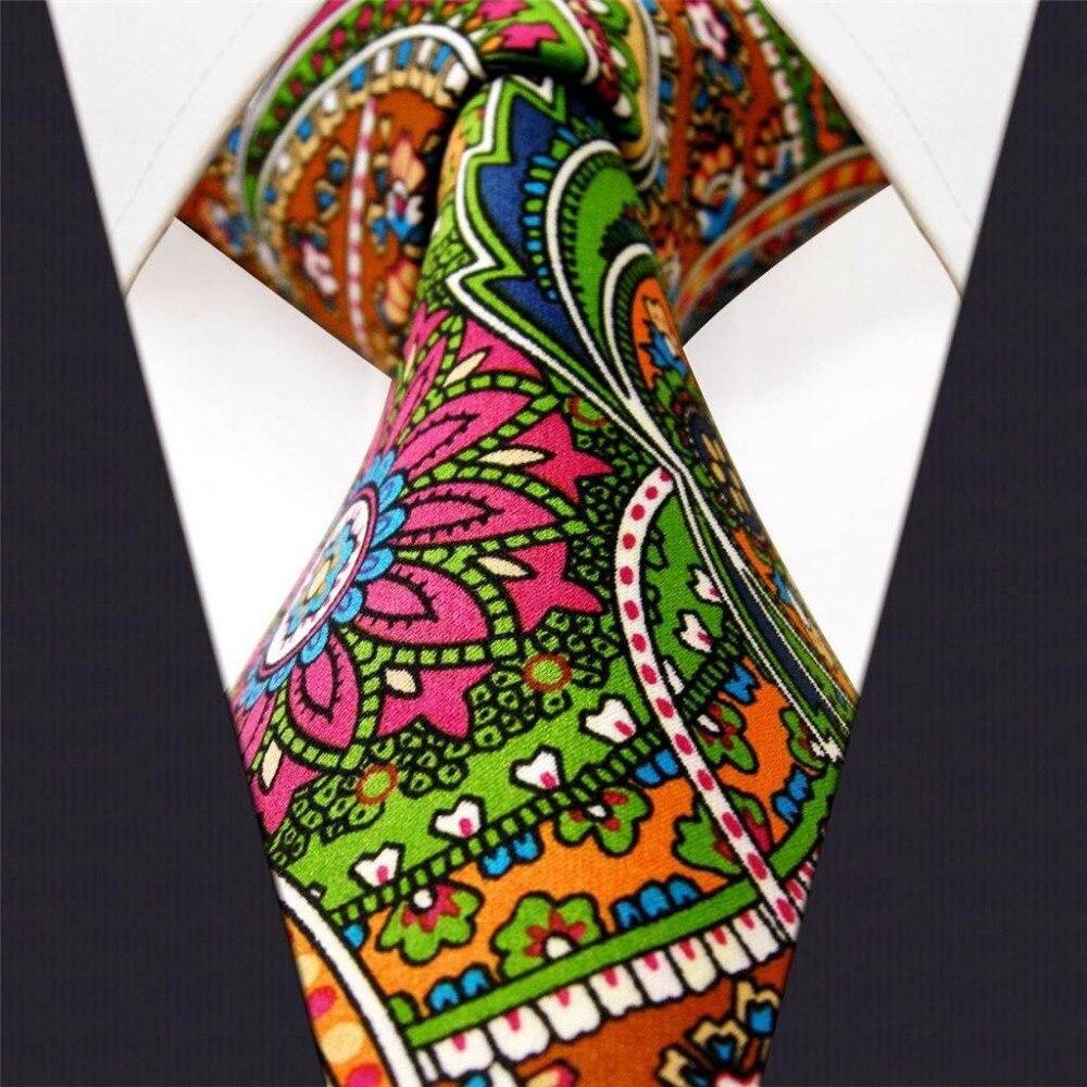 U31 Paisley Multicolor rojo verde amarillo azul hombres corbatas corbata 100% seda impresión hecha a mano nuevo