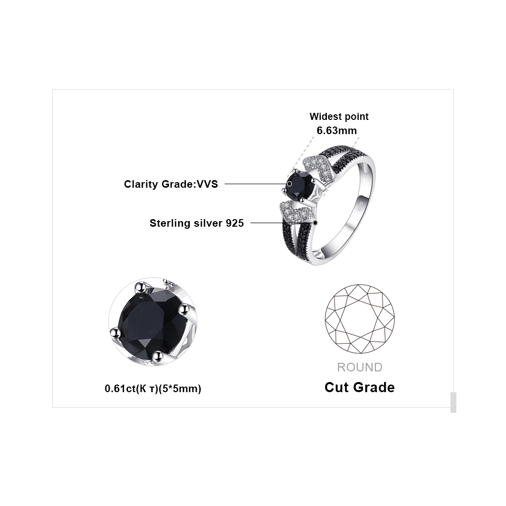 Image 5 - JewelryPalace Genuine Black Spinel Ring 925 Sterling Silver Rings for Women Engagement Ring Silver 925 Gemstones Fine Jewelryring forrings for womenring band -