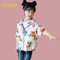 Teenage Girls Outerwear Jackets Spring Autumn Cartoon Owl Children Coats Casual Style Kids Girls Clothes 6
