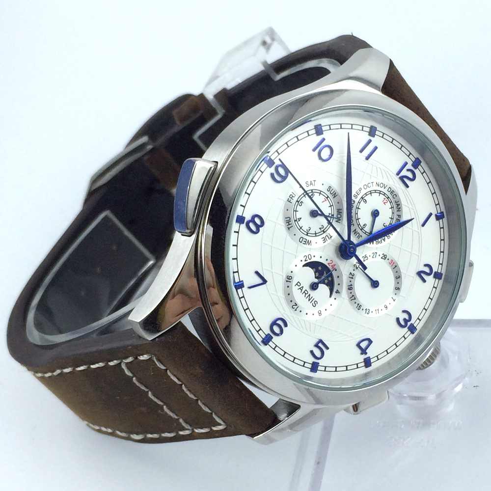 44mm parnis white dial day date Moon Phase multifunction automatic mens watch все цены