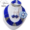 African Beads Jewelry Set Royal Blue And Silver AL019