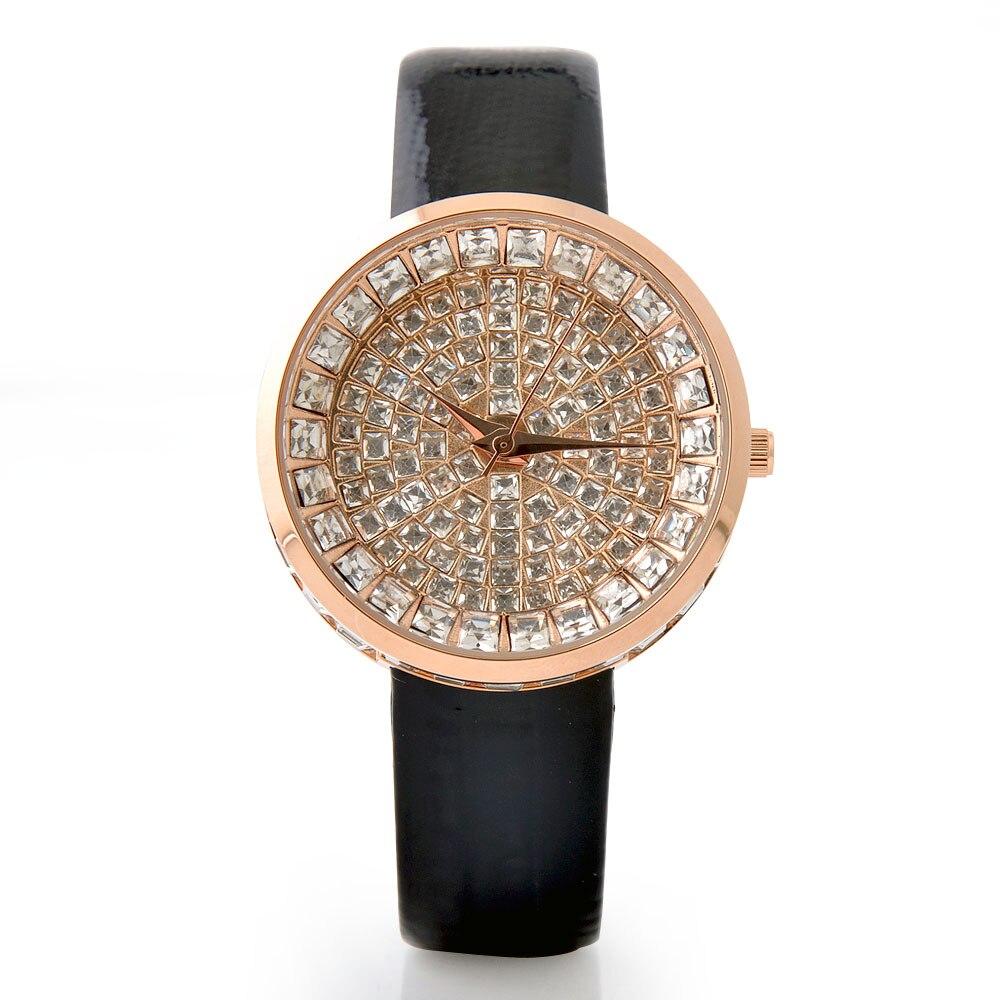 Top Luxury Women s Watches Bling Full Diamond Watch Women Watches Rhinestone Ladies Watch Genuine Leather