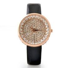 Superior de Lujo de Las Mujeres Relojes Bling Del Diamante Lleno de Reloj Relojes de Las Mujeres Rhinestone Reloj de Señoras de Cuero Genuino Reloj montre femme