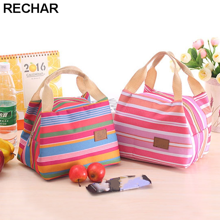 Portable Lunch Bag 2017 New Stripe Cooler Bag Thermal Insulation Bags Travel Picnic Food Lunch box bag for Women Girls Kids aosbos fashion portable insulated canvas lunch bag thermal food picnic lunch bags for women kids men cooler lunch box bag tote