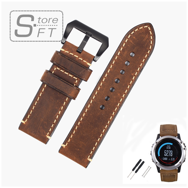 EACHE Classical Design Genuine Leather Replacement  Watchband 26mm Crazy Horse Leather Band Replacement Band fit for Fenix 3 26mm genuine leather watchband for garmin fenix 3 crazy horse leather band for fenix 3