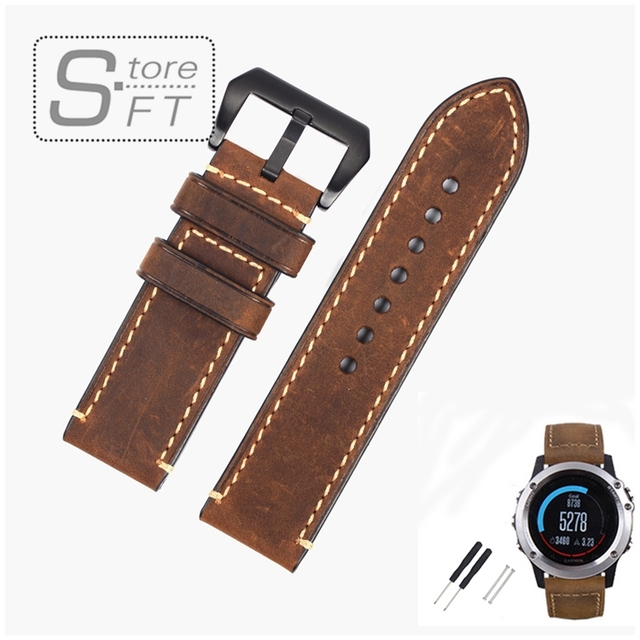EACHE Classical Design Genuine Leather Replacement  Watchband 26mm Crazy Horse Leather Band Replacement Band fit for Fenix 3