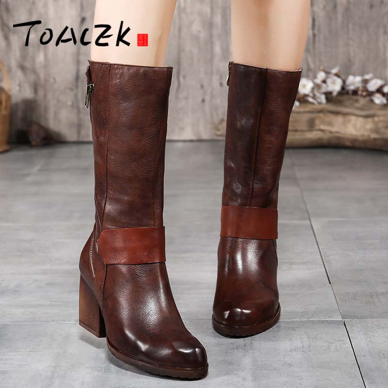 Autumn and winter new high-heeled boots children's retro leather round head zipper comfortable high boots цены