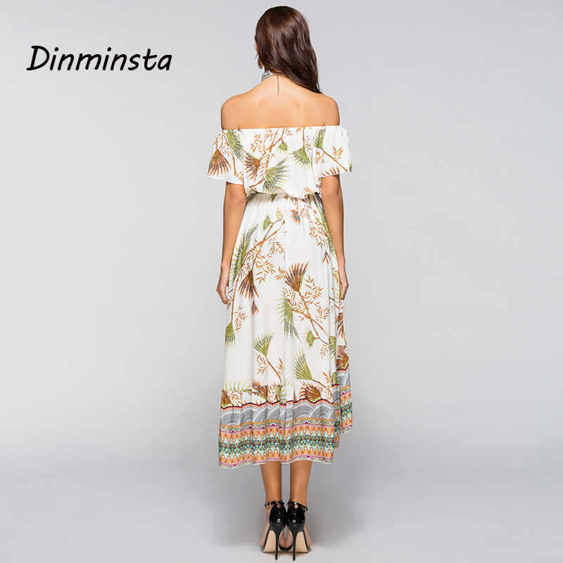 d51075b1f22f7 ... Dinminsta Women Summer Off Shoulder Bohemian Dress Boho Wrap Midi  Dresses Casual Loose Beach Floral Print ...