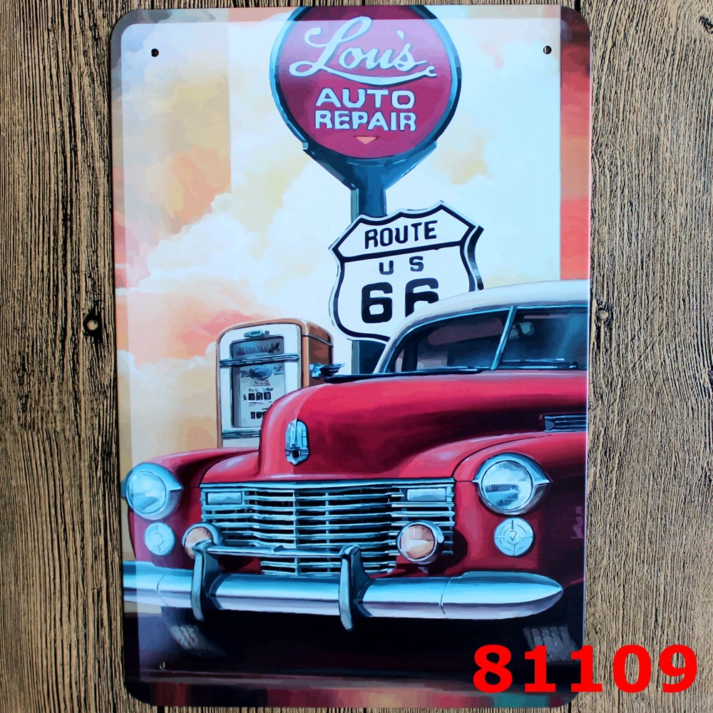 30x20cm route us 66 car vintage home decor tin sign for wall decor