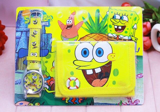2018 new Cartoon Spongebob kids Sets watch and wallet purse wrist quartz Christm