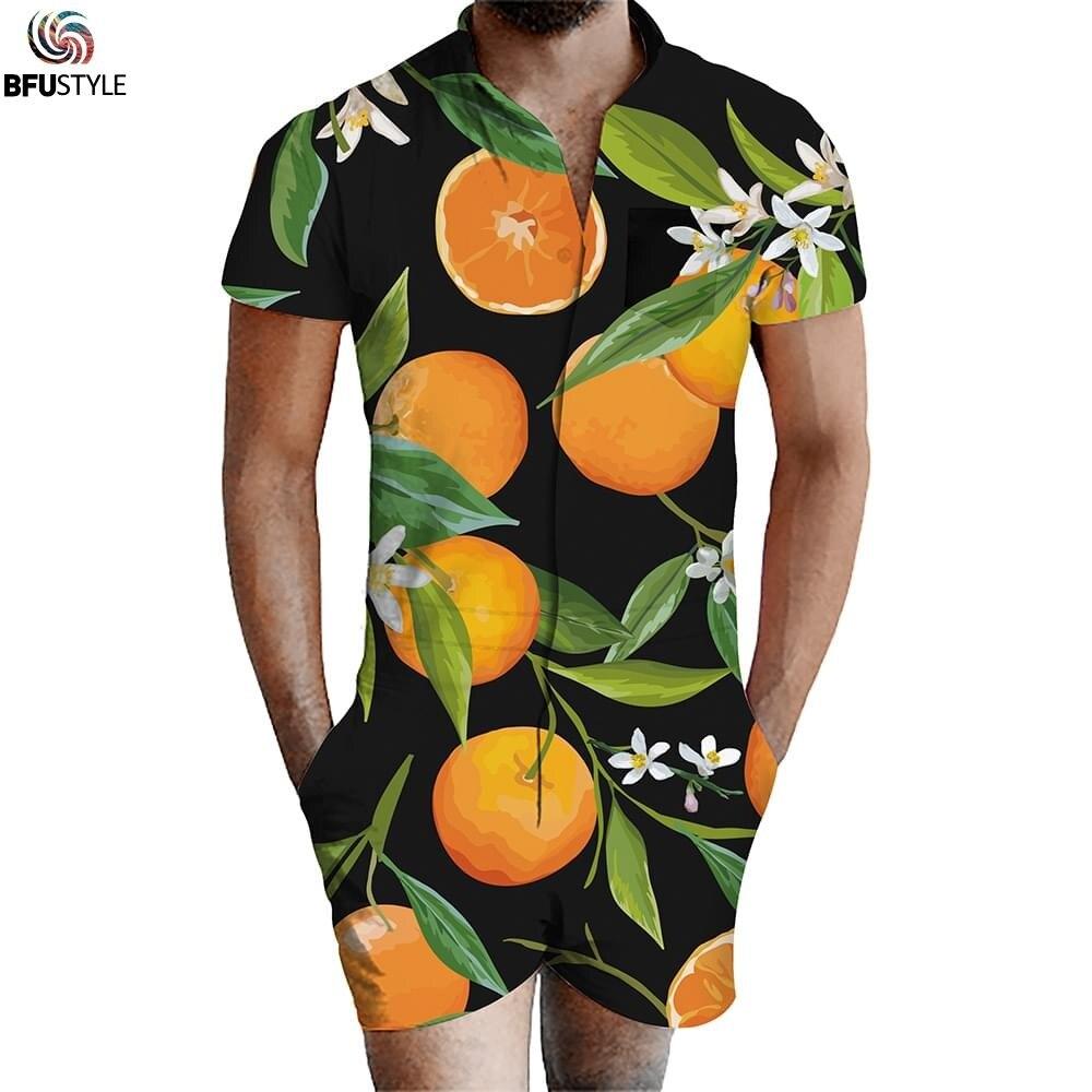 Orange noix de coco imprimer hommes barboteuse combinaison hawaïenne été vacances combishort salopette une pièce Slim Fit Beachwear décontracté hommes ensemble