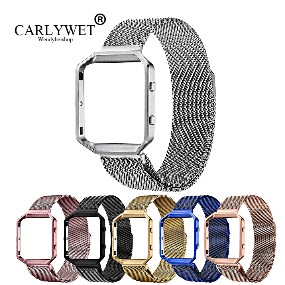 CARLYWET Rose Gold Pink Blue Replacement Milanese Steel band Strap Magnetic Closure With Case Frame For Fitbit Blaze 23 watch in Watchbands from Watches