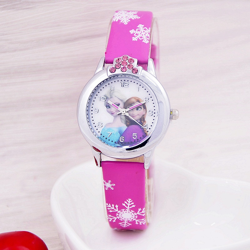 2017 New Cartoon Children Watch Princess Elsa Anna Watches Fashion Kids Cute relogio Leather quartz WristWatch Girl Gift relojes disney frozen elsa anna princess best rhinestone watch pretty girls fashion casual quartz watches kid leather 54055 snowflake
