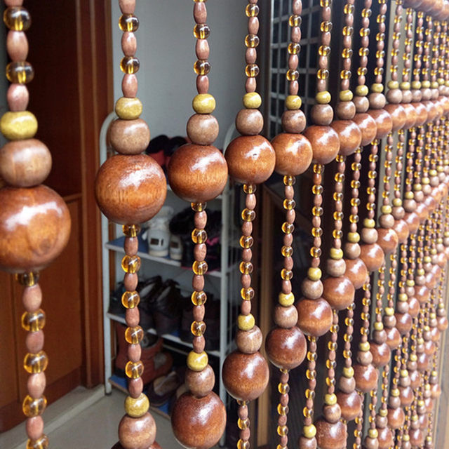 10 PCS Hand Made Wood Bead Curtains Gourd Shape Cortina Home Wall Decoration Lucky Cut Off The Crystal Curtain 2M