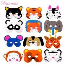 PATIMATE 12pcs DIY EVA Foam Animal Party Mask  Safari Decor Children Jungle Supplies Birthday Decoration Kids