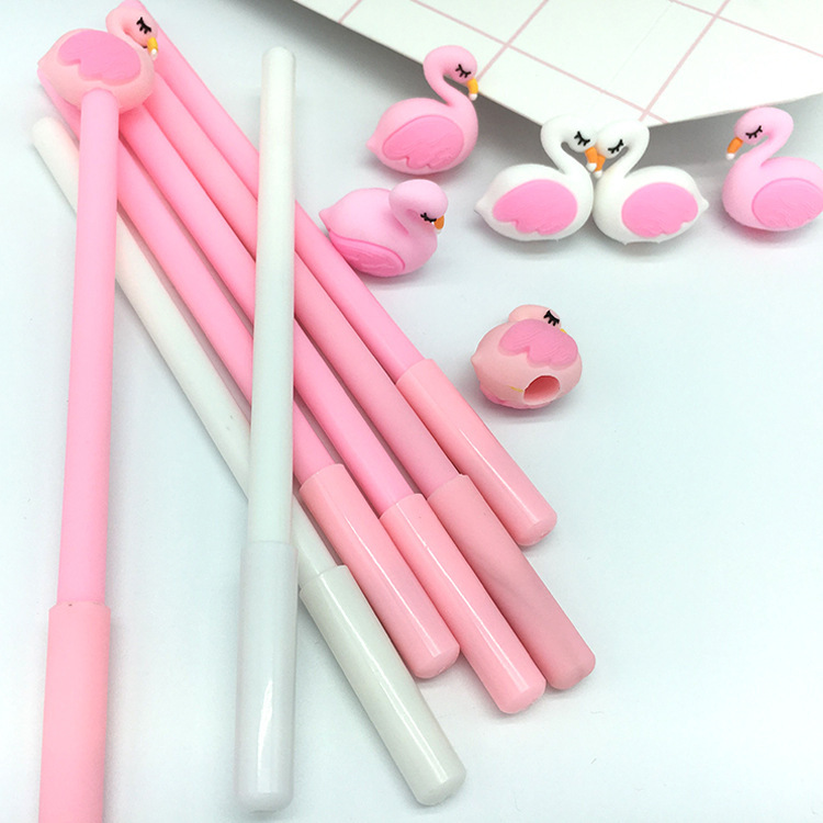 50 PCS Cartoon Pink Flamingos Modeling 0.38mm Neutral Pen Student Learning Office Black Signature Wholesale Canetas School-in Gel Pens from Office & School Supplies