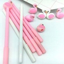 50 Pcs Cartoon Roze Flamingo Modellering 0.38 Mm Neutrale Pen Student Leren Kantoor Zwarte Handtekening Groothandel Canetas School