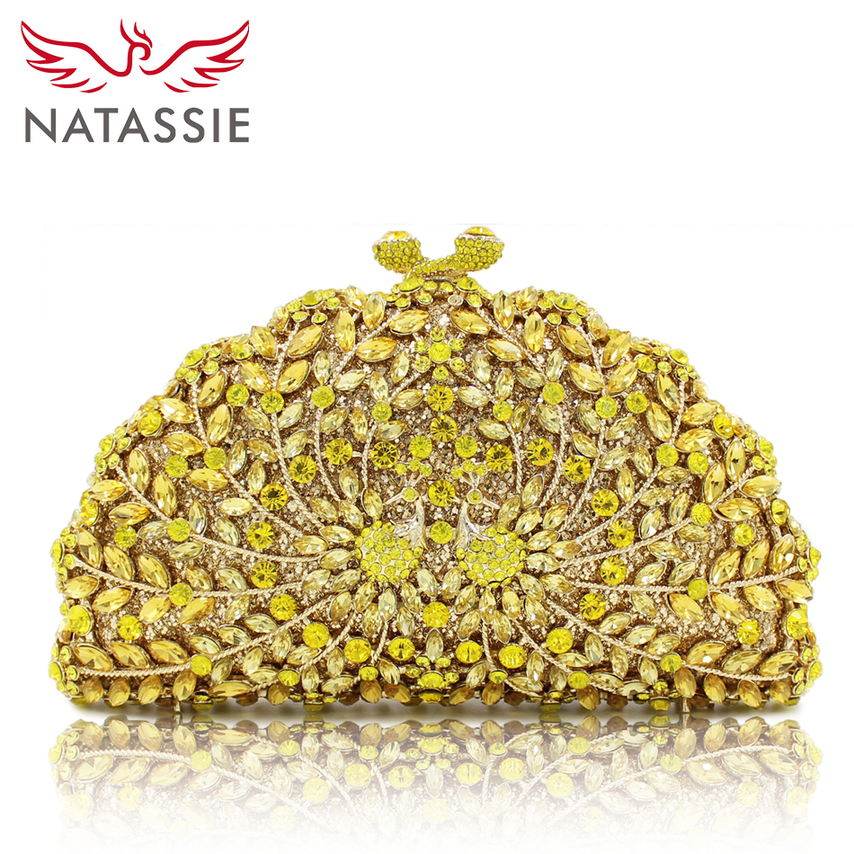 NATASSIE Women Evening Bags Pair Peacock Shape Clutch Wedding Bag Female Party Clutches Purses luxury crystal clutch handbag women evening bag wedding party purses banquet