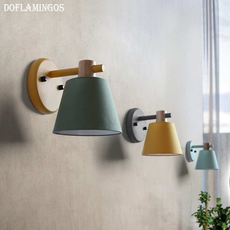 Modern Led Wall Lamp Metal Wood Wall Light Fixtures Home Lighting E27 led bedroom bedside decoration Wall Sconces 2 lights modern creative metal wall light simple glass shade wall sconces fixtures lighting for hallway bedroom bedside wl282 2