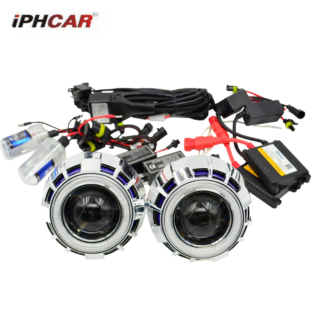 2.5inch bixenon Projector lens with dual  DRL day running angel eyes angel eyes hid xenon ballast bulb car assembly kit