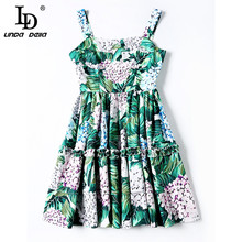 High Quality Runway Designer Summer Dress Women's elegant Backless Spaghetti Strap Casual Green Floral Print Short Dress vestido