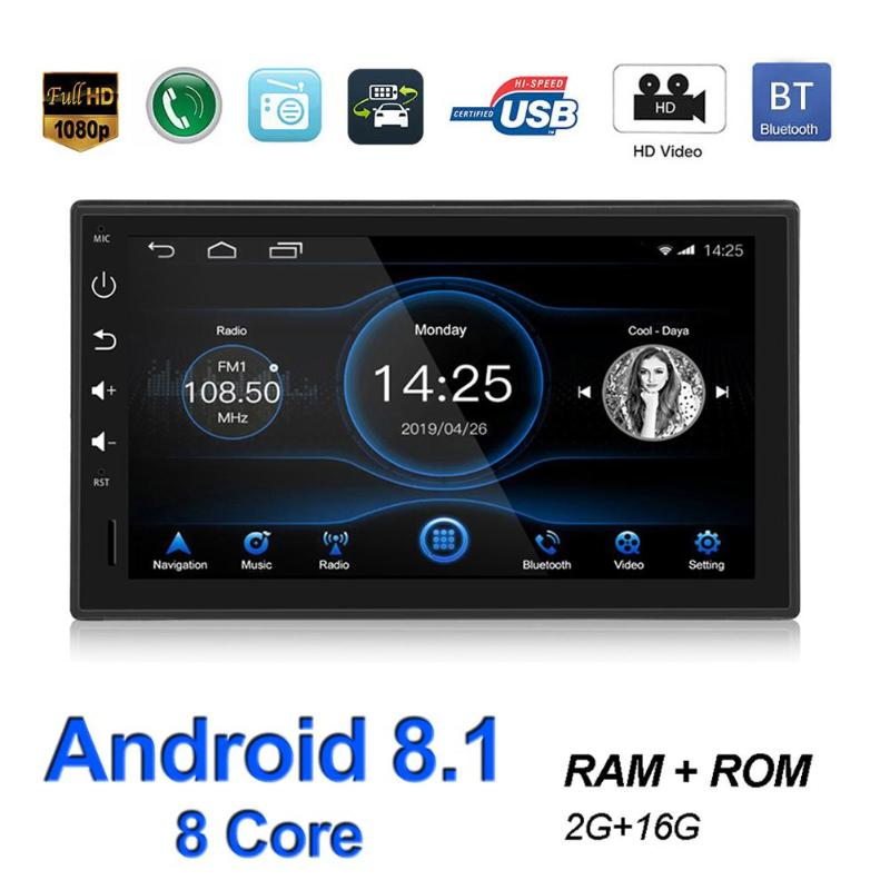 1 DIN Car Stereo GPS Nav Android 8.1 Bluetooth WiFi USB AM FM Radio Head Unit 1.8G Octa Eight Core CPU with 2G DDR3 image