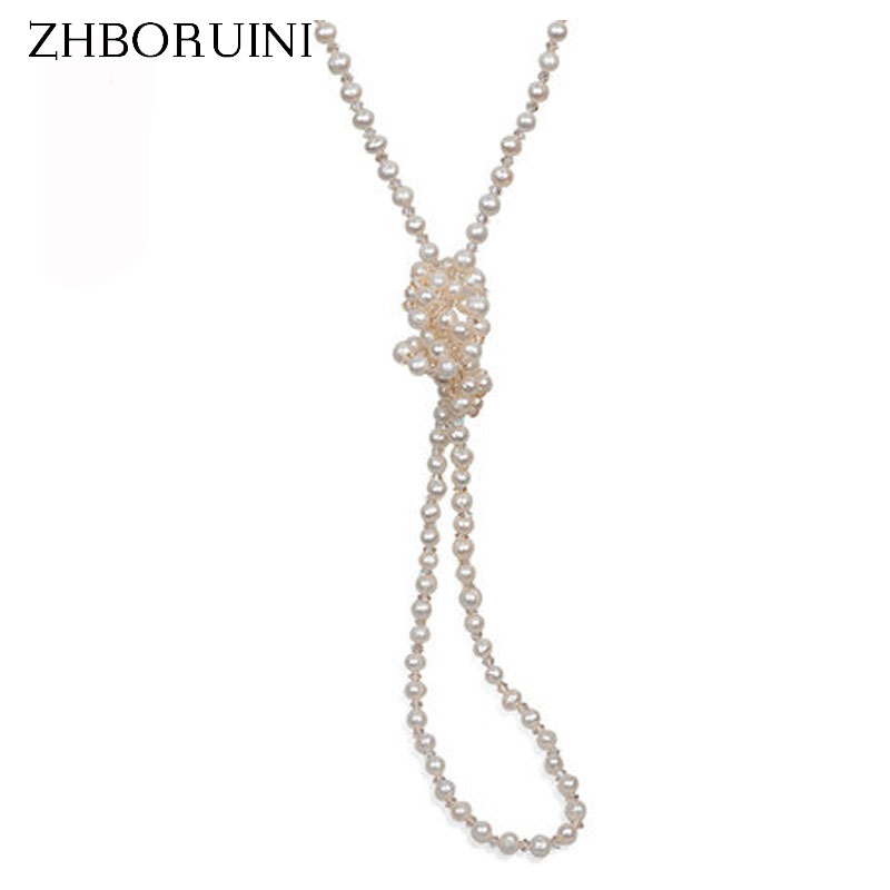 ZHBORUINI 2017 Fashion Long Multilayer Pearl Necklace Freshwater Pearl Crystal Beads Women Necklace Jewelry For Women Gift zhboruini fashion long multilayer pearl necklace freshwater pearl tassels women accessories statement necklace jewelry for women