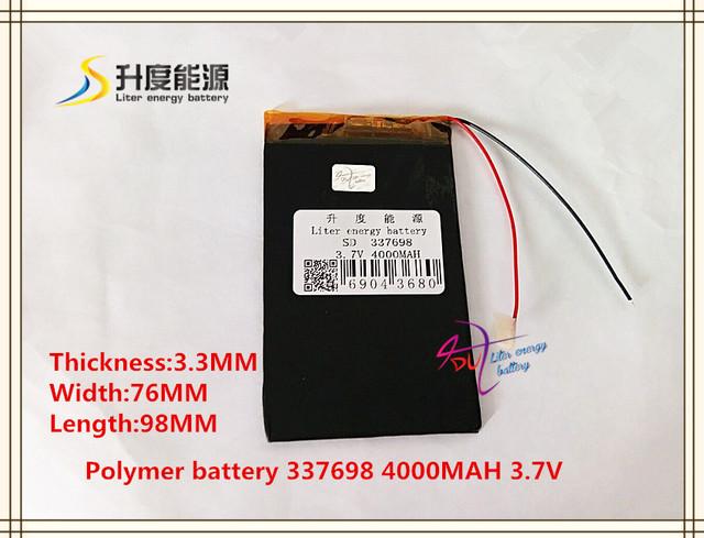 3.7 V 4000 mAH 337698 bateria de polímero de iões de lítio/bateria de Iões de lítio para tablet pc banco de potência E LIVRO